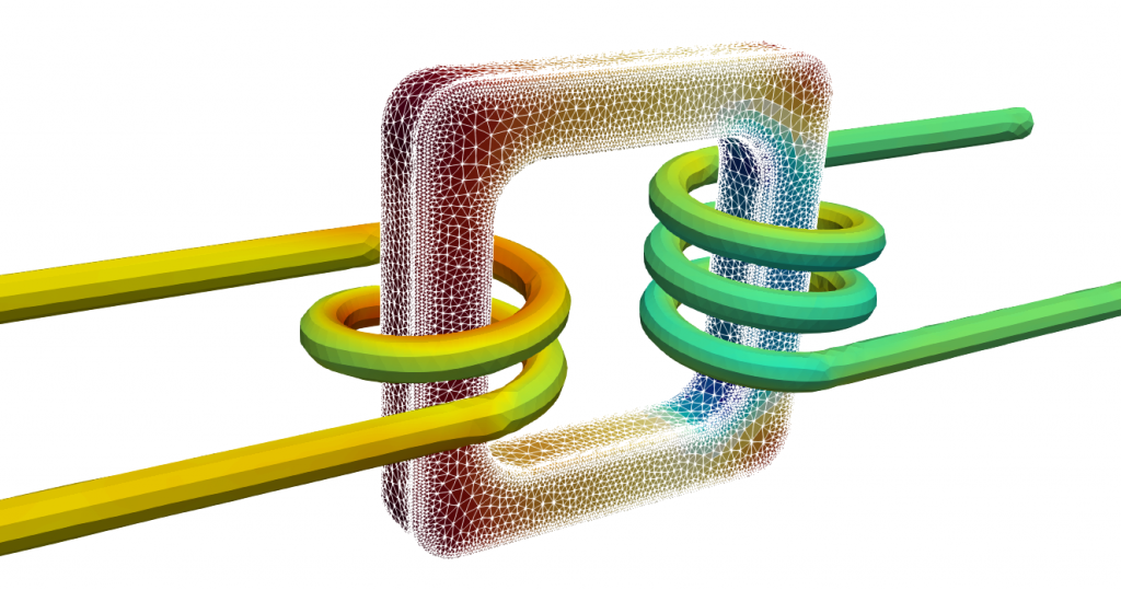 Transformer, electromagnetics, Elmer FEM simulation